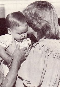 March 20, 1983: Princess Diana kissing Prince William & gives him to his nanny to take him to to Woomargama Estate where he will stays throughout the Australian tour.