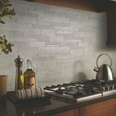 20 Gorgeous Backsplashes To Inspire You: Urban Gray Kitchen Backsplash For Behind Stove