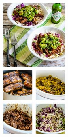 Slow Cooker Green Chile Shredded Beef Cabbage Bowl from Kalyn's Kitchen; #paleo