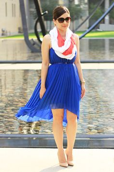 Love a bright dress with some bright accessories and a circle scarf.