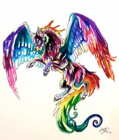 Colorful Flying Wolf Tattoo by *Lucky978 on deviantART