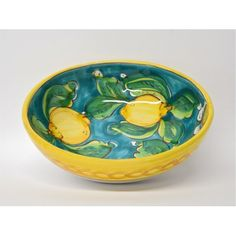 "Limoni di Sicilia Turquoise 7.5"" Pasta Bowl - Italian pottery from Bonechi Imports - We also have Blue and White as well as this Turquoise!"