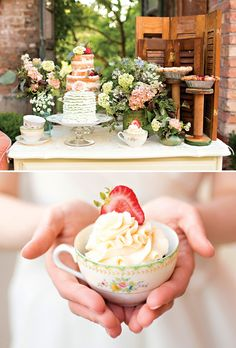 Shabby Chic Garden Tea Party Wedding Inspiration- love the shutter backdrop