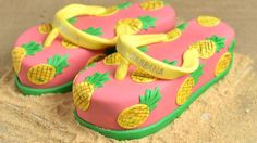 I made Dolce & Gabbana Pineapple Print Flip Flops Cake. In this video I show you how to make this fun summery cake. I love to bake, decorate cookies, . Novelty Birthday Cakes, Cool Birthday Cakes, Novelty Cakes, Cupcakes, Cupcake Cakes, Flip Flop Cakes, Flip Flops, Luau Cakes, Fondant