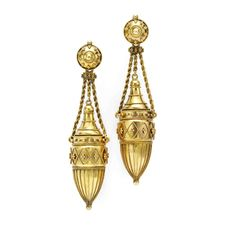 A Pair of Antique Gold Urn Ear Pendants, Revival Victorian, late 19th Century