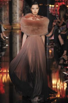 Elie Saab Couture AW14 - full length floor length, fur wrap stole
