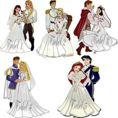 Disney Wedding (Arielle has the best dress if you asked me, well she is my favourite princess so. Disney Couples, Disney Girls, Arte Disney, Disney Art, Disney Dream, Disney Love, Disney And Dreamworks, Disney Pixar, Disney Characters