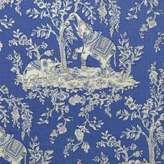 Clarence House ILE DES ELEPHANTS COBALT Fabric