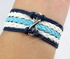 Infinity wish bracelet karma bracelet navy blue rope by handworld, $3.29