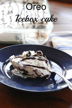 Oreo Icebox Cake.  It is a no bake recipe.  So easy to make and tastes amazing!  - Momcrieff