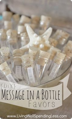 Message in a Bottle Party Favors. DIY wedding ideas and tips. DIY wedding decor and flowers. Everything a DIY bride needs to have a fabulous wedding on a budget! #diywedding #diy #wedding #beach #adiywedding