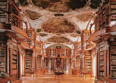 Library of the Monastery St. Gallen, Switzerland: 2000 hand writings, 1635 incunable and almost 100.000 books. The library was built between 1758 and 1767 und richly decorated