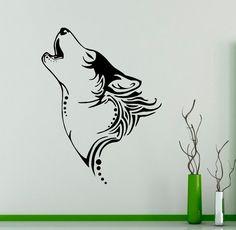 Howling Wolf Wall Decal Wild Animals Vinyl Sticker Wild Nature