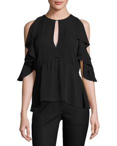 "Theory ""Desiraya"" top in Classic georgette. Jewel neckline with keyholes at front and back. Cold shoulders with draped ruffle trim. Slightly arched peplum hem. Slim silhouette. Pullover style. Silk. I"