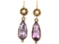 Drop amethyst earrings with pearl tops. English, c1820. The Antique Jewellery Company.