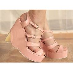 Wholesale The new design clasp with wedges thick soles sandals CZ-0436 pink - Lovely Fashion