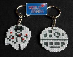 Perler bead Death Star and Millennium Falcon