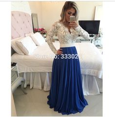 A Line Pearls Beaded White Lace Long Sleeve Evening Dress Royal Blue Chiffon Prom Gown vestidos de noche