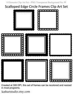15 Digital Scrapbook Frames // Clipart Clip Art