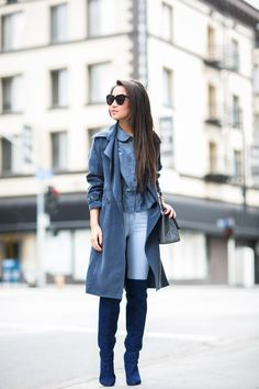 Total Blue :: Soft trench & Sapphire boots :: Outfit ::  Top :: Mason by Michelle Mason jacket , ASOS top Bottom :: J Brand  Bag :: Chanel Shoes :: Joie Accessories :: Karen Walker sunglasses, Cartier watch, Wanderlust + Co ring, Dior earrings   Published: January 27, 2015