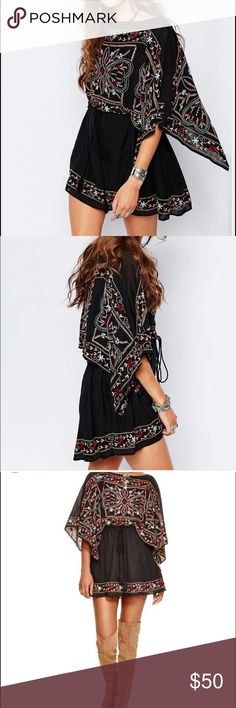 Free people black colorful embroidered flare dress Super cute and fun stitched free people dress. Never worn! Can adjust to your waist size with a tie at the waist. Can be worn loose like a shift dress or tied tight to cinch at the waist. Out of stock on most websites! Free People Dresses Mini