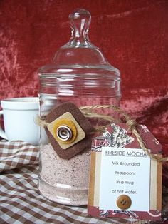 Fireside Mocha - would obviously have to make smaller serving sizes and figure out what to put them in.  She also links at the bottom to a site that has tons of other dry beverage mix recipes