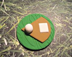Play Ball! Darling little Fondant Baseball Cupcake,Cake or Cookies. Set of 12 (one dozen)