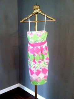 Lilly Pulitzer Pink and Green Strapless Size  2  Summer Dress by RestorologyVintage on Etsy