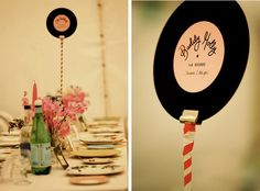 Vinyl record table numbers - use Artist or song titles as your numbers!! Definitely will be doing this :)