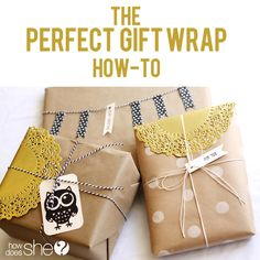 "The ""Perfect Gift Wrap"" How-to! {I love me some butcher wrapping paper accented with accessories!}"