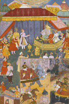 An illustration from the Razmnama, India, Mughal, 1616