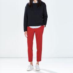 ZARA Cropped Trousers NWT. Red. Zara Pants Trousers