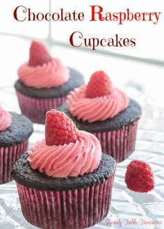 A moist and delicious chocolate cake filled with Chambord flavored ganache and topped with fresh raspberry buttercream! These Chocolate Raspberry Cupcakes {with Chambord Ganache Filling} are an absolute heavenly combination of flavors!