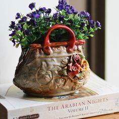 Cerâmica pequeno vaso de flores Cestas do vintage home decor sala de artesanato decoração artesanato estatuetas de porcelana decorações capina em Vasos de Home & Garden no AliExpress.com   Alibaba Group