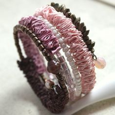 Ribbon bracelet on a memory wire - browns and pinks. Gift idea for a young woman. One size fits all.