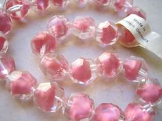 90 Pieces Vintage German Glass Flower Beads in Bright Red #576