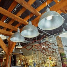 Located in Eugene Oregon, Outdoor Elements is a retail store which prides itself on style, sustainability and quality. This retail space features an assortment of ANP Lighting RLM metal spun shades.   Using our A812 Angle Shade, W527 Warehouse shade and D616 Deep Bowl Shade, ANP Lighting was able to provide a lighting solution which was cohesive with Outdoor Element's brand and lifestyle.