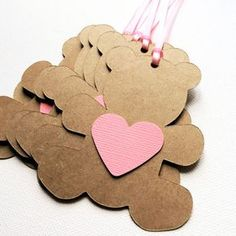 Teddy Bear Gift Tags. Baby shower teddy bears with pink hearts by MyPaperPlanet