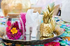 There were also mirrored trays holding homey props such as candles, golden pineapples, and elephant figurines. Some of the goods on display were from Sparkle and Shine Darling, a store and event space in Miami Beach that Bosh will open soon.  Photo: April Belle Photos