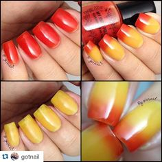 On FireThermal nail polish yellow to red lg by IndiePolish on Etsy
