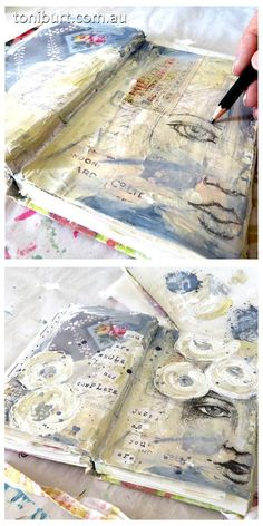 The progress of a mixed media art journal page. sketching the girls face with…