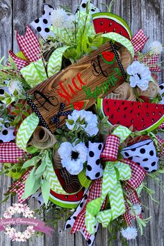 Summer Wreath, Summer Watermelon Wreath, Summer Wreath for Front Door Christmas Mesh Wreaths, Deco Mesh Wreaths, Holiday Wreaths, Floral Wreaths, Winter Wreaths, Spring Wreaths, Prim Christmas, Holiday Decor, Wreath Crafts