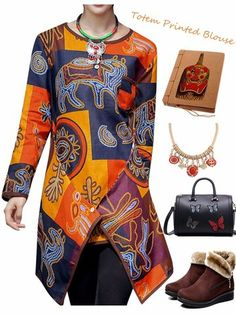 Autumn Ethnic Multi-color Printing O Neck Irregular Hem Blouse For Women