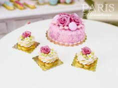Pink Rose Cream-Filled Flower-Shaped French Cookie Sablé