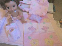 "16"" Baby Alive Diaper Bag Set Handcrafted Pink 2 Diapers Blanket Pillow Bib Bag | eBay"