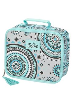 Mint Medallion Lunch Tote (original price, $12.90) available at #Justice Girls Lunch Boxes, Cute Lunch Boxes, Cute Girl Backpacks, Kids Backpacks, Middle School Hacks, Back To School, School Stuff, Lunch Tote, Lunch Bags