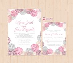 Flower-works Wedding Invitation and RSVP Set --- FREE to Download
