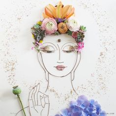I Stability Twigs And Flowers To Generate Intricate Portraits Out Of Mother Nature Art Floral, Flower Prints, Flower Art, Buddha Flower, Dame Nature, Little Buddha, Bohemian Art, Art Plastique, Oeuvre D'art
