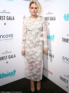 A bit of all white: Kristen Stewart stunned in a surprisingly feminine dress at the Thirst Gala in Beverly Hills on Monday