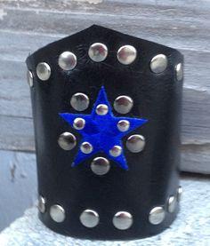 black LEATHER CUFF bracelet with blue star studded by whackytacky, $45.00